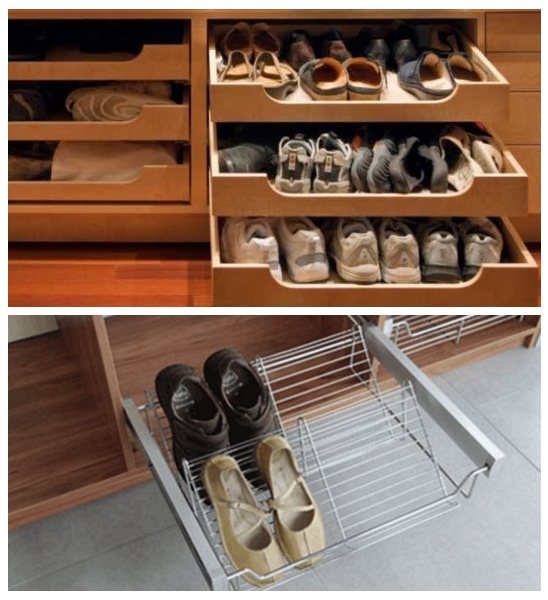 Полки для обуви в шкафу купе